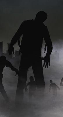 A zombie shuffling among zombies