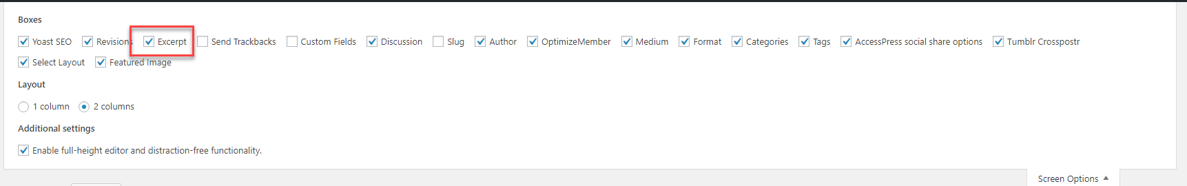 Screen options in WordPress
