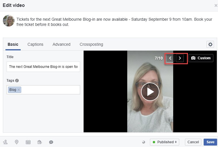 Facebook Video - Change the thumbnail