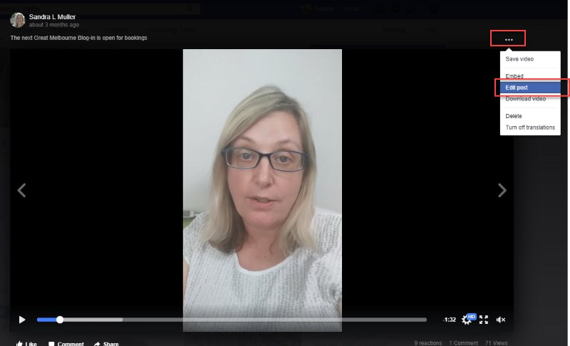 Facebook Video - Editing the post