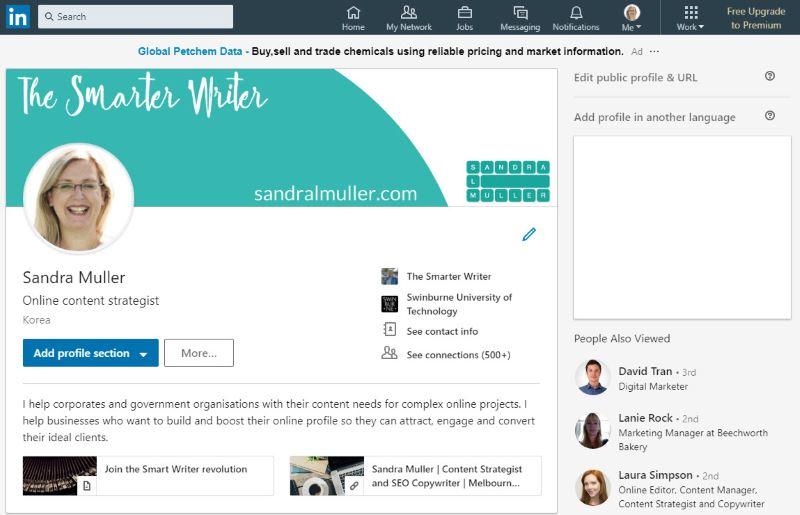LinkedIn Profile for Sandra Muller Content Strategist