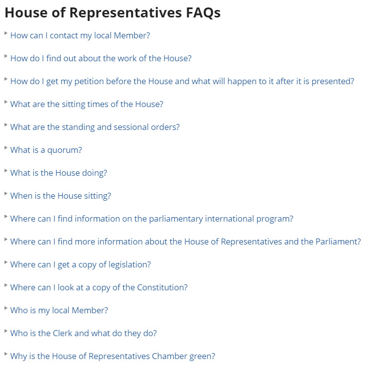 List of FAQs with long titles on the APH website
